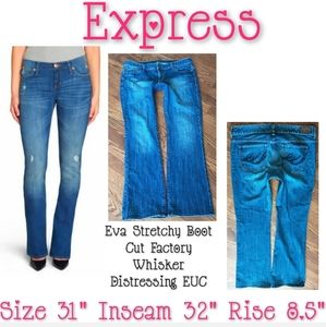 Express Jeans Boot Cut Size 12 Distressed EUC